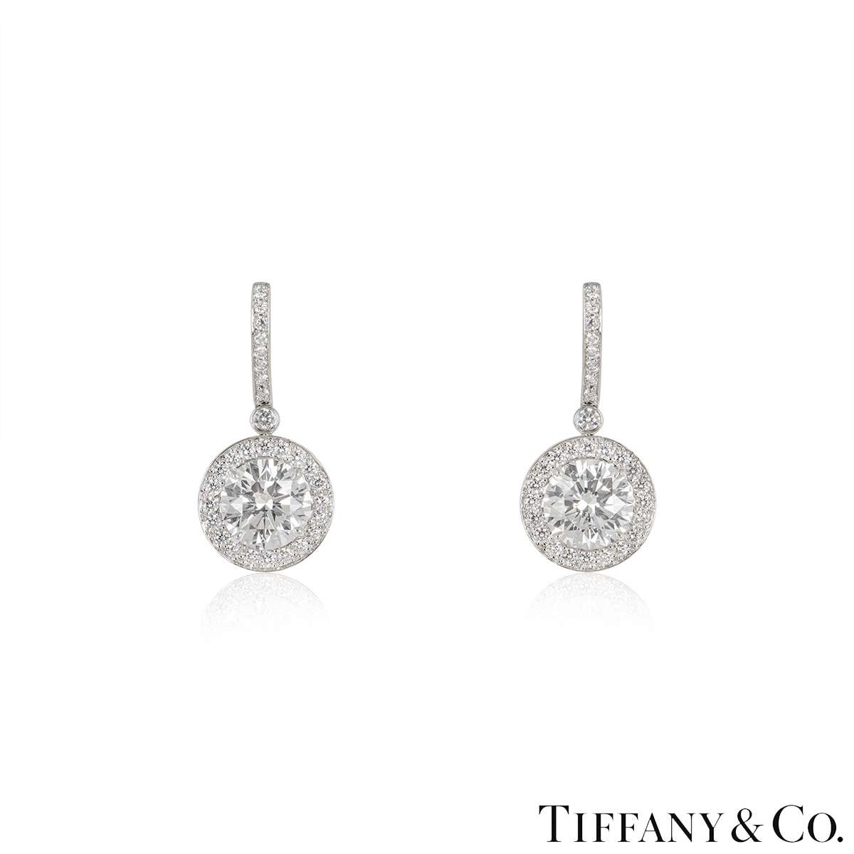 Tiffany & Co. Platinum Diamond Earrings 3.03ct TDW